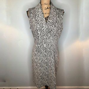 Calvin Klein White & Black Print Sheath Dress